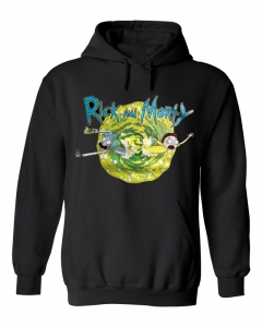 Bluza z kapturem RICK AND MORTY portal czarna kangurka unisex