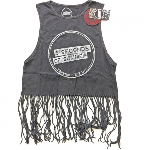 Crop top 5SOS logo frędzle 5 SECONDS OF SUMMER logo boho