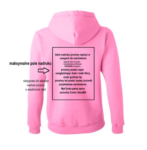 Bluza z własnym nadrukiem napisem na zamówienie damskie