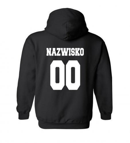 Bluza z kapturem męska NAZWISKO IMIĘ NUMER własny nadruk