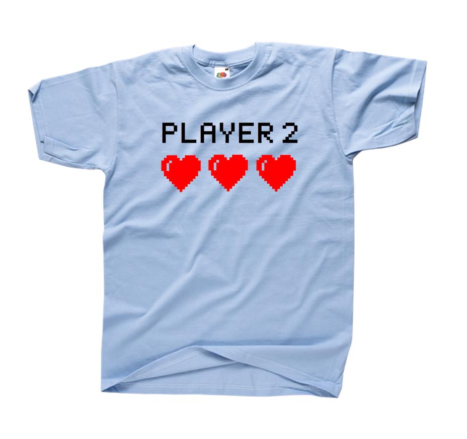 Chwalebne Koszulka z nadrukiem PLAYER 2 dla par zakochanych dla dwojga KB07